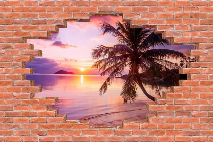 Fototapeta winylowa Dziura w murze - Tropikalna plaża - Dziury w ścianie