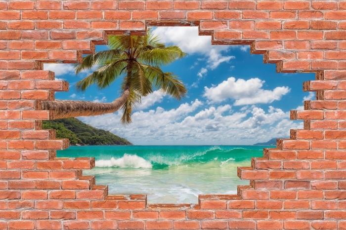 Fototapeta winylowa Dziura w murze - Raj na plaży - Dziury w ścianie