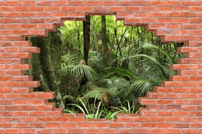 Fototapeta winylowa Dziura w murze - Tropikalny las - Dziury w ścianie