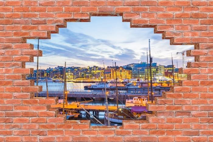 Fototapeta winylowa Dziura w murze - Oslo - Dziury w ścianie