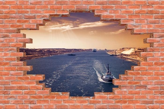 Fototapeta winylowa Dziura w murze - Wzdłuż rzeki - Dziury w ścianie