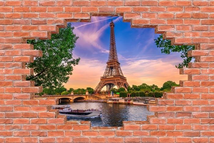 Papier peint vinyle Trou dans le mur - Paris et la Tour Eiffel - Les trous dans le mur
