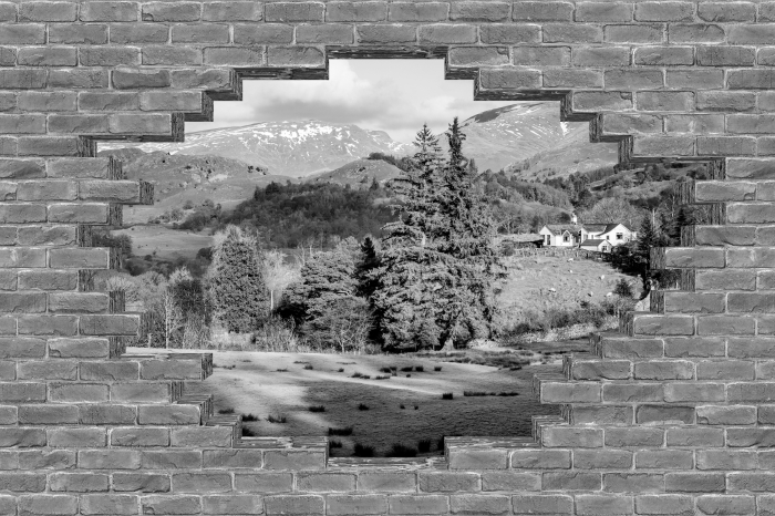 Fototapeta winylowa Dziura w murze - Lake District - Dziury w ścianie