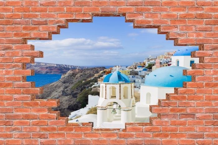 Vinyl-Fototapete Loch in der Wand - Landschaft von Santorin - Durchbruch in der Wand