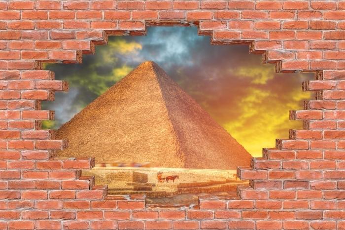 Vinyl-Fototapete Loch in der Wand - Pyramiden von Gizeh - Durchbruch in der Wand