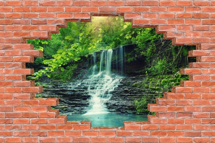 Hole in the wall - Waterfall Vinyl Wall Mural - Holes in the wall