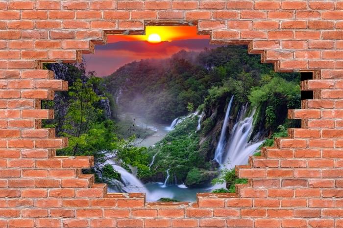 Fototapeta winylowa Dziura w murze - Wschód słońca. Chorwacja. - Dziury w ścianie
