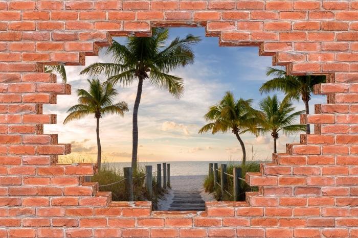 Fototapeta winylowa Dziura w murze - Panorama - Dziury w ścianie