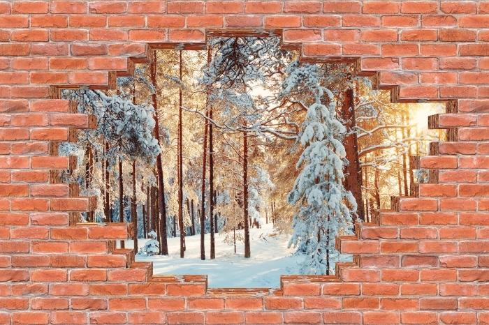 Fototapeta winylowa Dziura w murze - Sosny pokryte śniegiem - Dziury w ścianie
