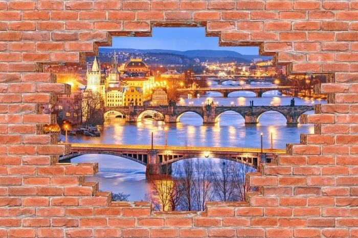 Fototapet av vinyl Hull i veggen - Praha - Hull i veggen