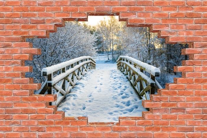 Fototapeta winylowa Dziura w murze - Zimowy most - Dziury w ścianie