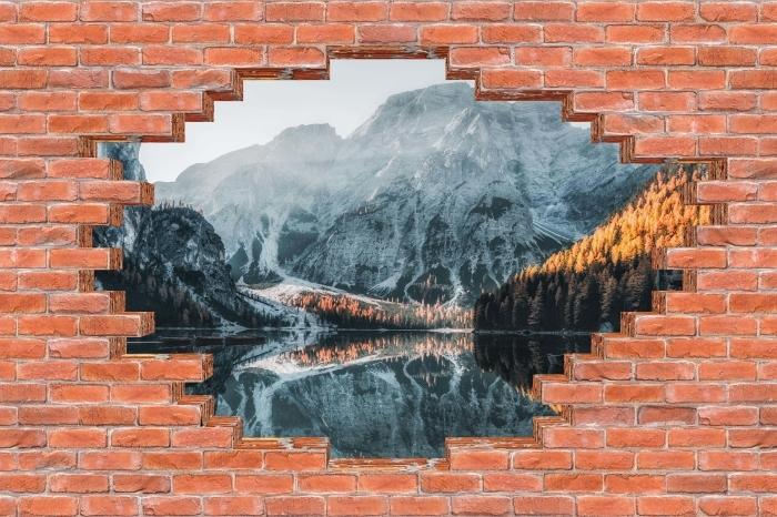 Fototapeta winylowa Dziura w murze - Łodzie. Góry Dolomity - Dziury w ścianie