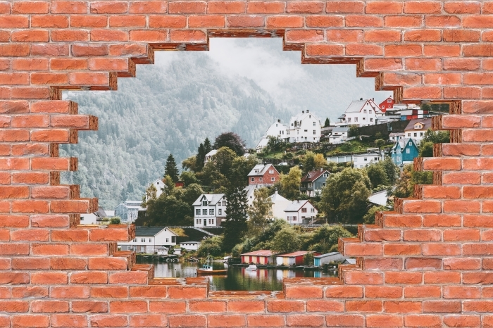 Vinyl-Fototapete Loch in der Wand - Misty Berge. - Durchbruch in der Wand