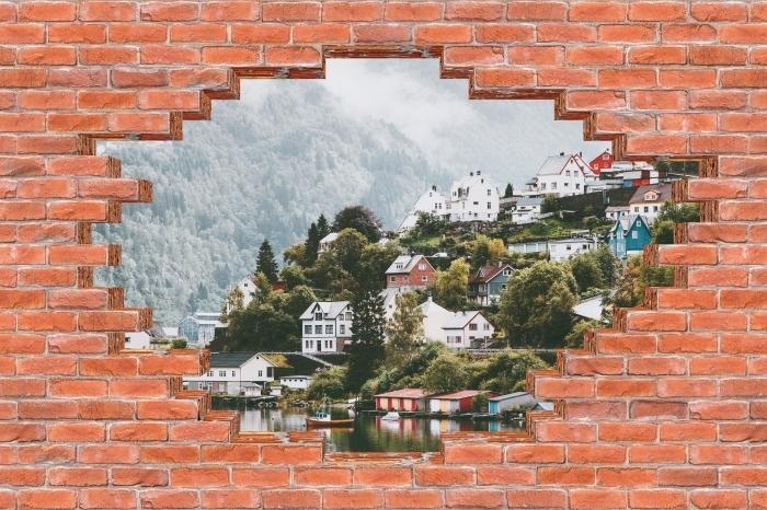 Fototapeta winylowa Dziura w murze - Mgliste góry. - Dziury w ścianie