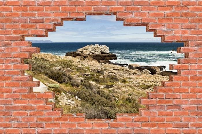 Fototapeta winylowa Dziura w murze - Nad morzem. - Dziury w ścianie