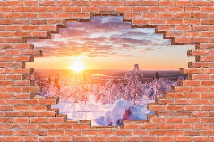 Fototapeta winylowa Dziura w murze - Skandynawia o zachodzie słońca - Dziury w ścianie