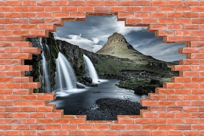 Vinyl-Fototapete Loch in der Wand - Wasserfall. Island. - Durchbruch in der Wand