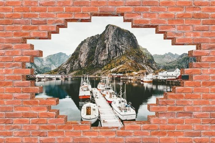 Fototapeta winylowa Dziura w murze - Krajobraz. Norwegia - Dziury w ścianie