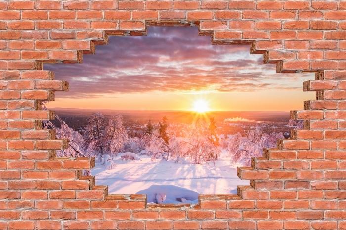 Fototapeta winylowa Dziura w murze - Skandynawia. Krajobraz o zachodzie słońca - Dziury w ścianie