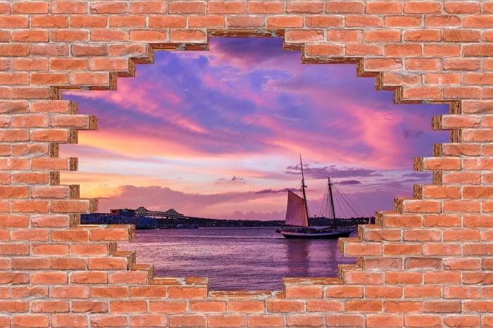 Fototapeta winylowa Dziura w murze - Niesamowity zachód słońca w porcie w Bostonie - Dziury w ścianie