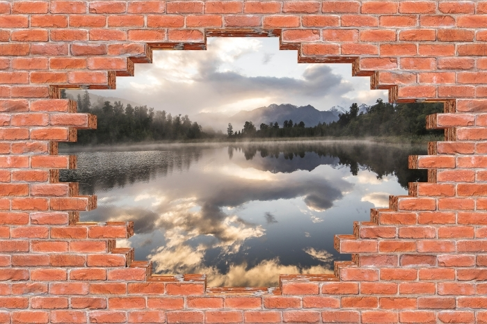 Fototapeta winylowa Dziura w murze - Jezioro. Nowa Zelandia. - Dziury w ścianie