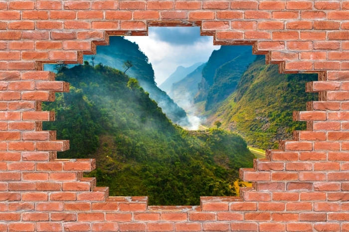 Fototapeta winylowa Dziura w murze - Ha Giang. Wietnam. - Dziury w ścianie