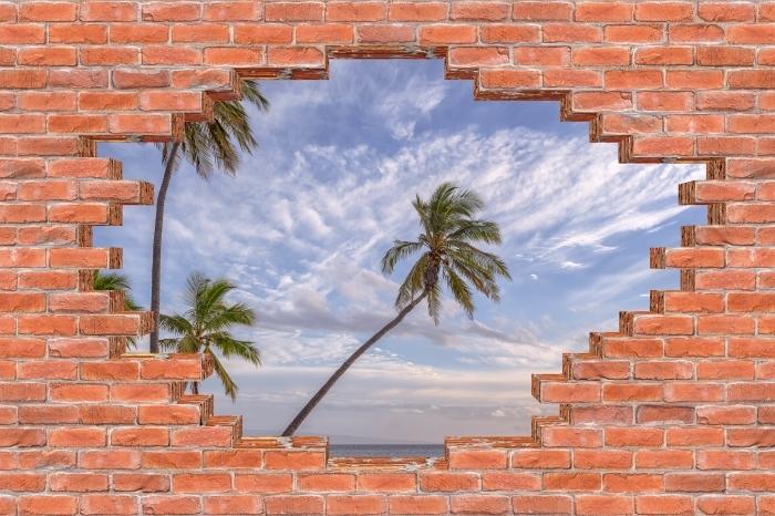 Fototapeta winylowa Dziura w murze - Palmy - Dziury w ścianie