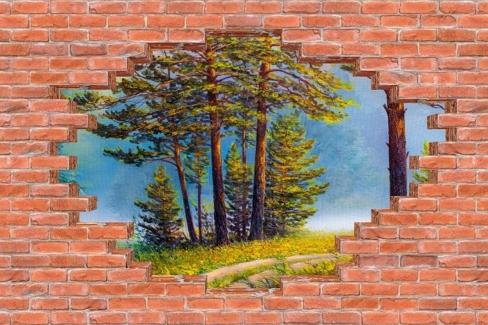 Fototapeta winylowa Dziura w murze - Letni las - Dziury w ścianie
