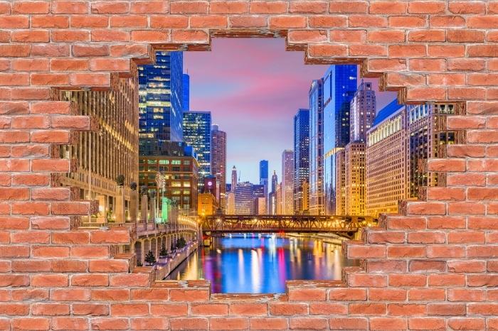Fototapeta winylowa Dziura w murze - Chicago, Illinois, USA. - Dziury w ścianie