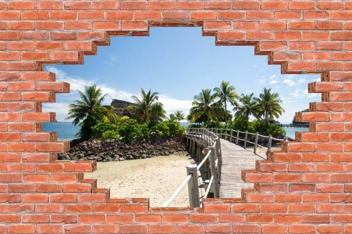 Fototapeta winylowa Dziura w murze - Wzdłuż mostu - Dziury w ścianie