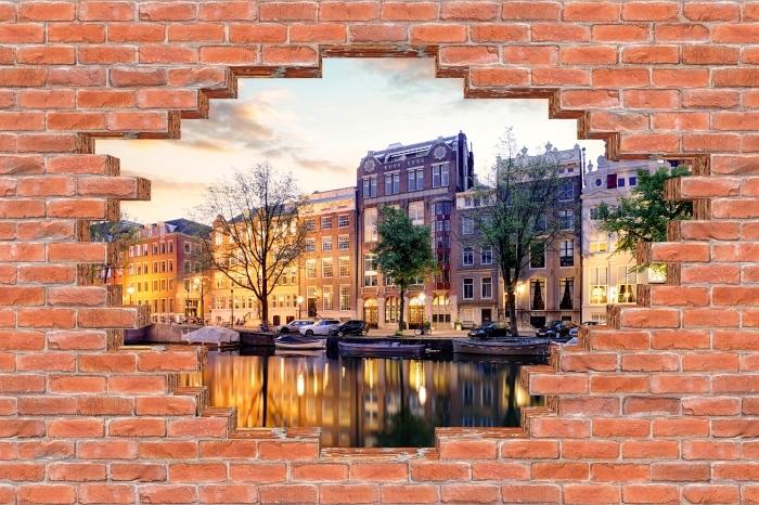 Fototapeta winylowa Dziura w murze - Amsterdam. Holandia. - Dziury w ścianie