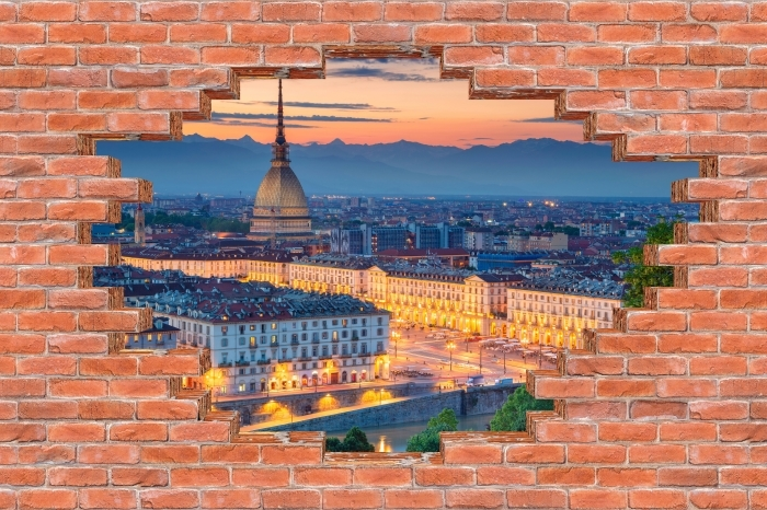 Carta da Parati in Vinile Buco nel muro - Torino. Tramonto. - Buchi nel muro