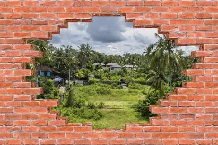 Fototapeta winylowa Dziura w murze - Pole ryżowe - Dziury w ścianie