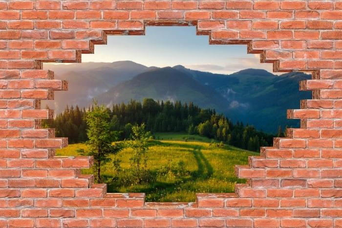 Fototapeta winylowa Dziura w murze - Górskie doliny - Dziury w ścianie