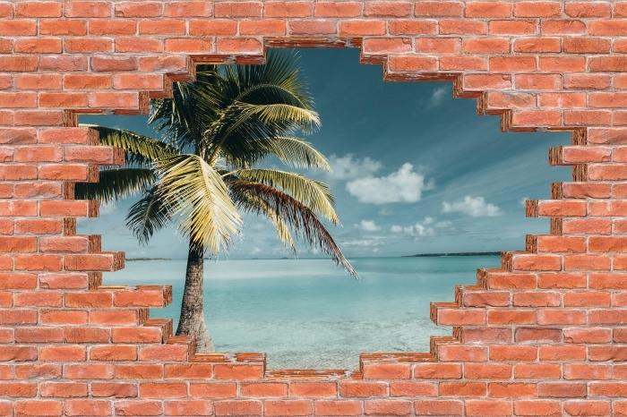 Carta da Parati in Vinile Buco nel muro - cuocere albero Palm Island - Buchi nel muro