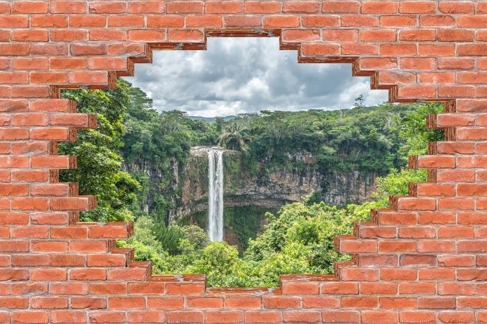Fototapeta winylowa Dziura w murze - Wodospad - Dziury w ścianie