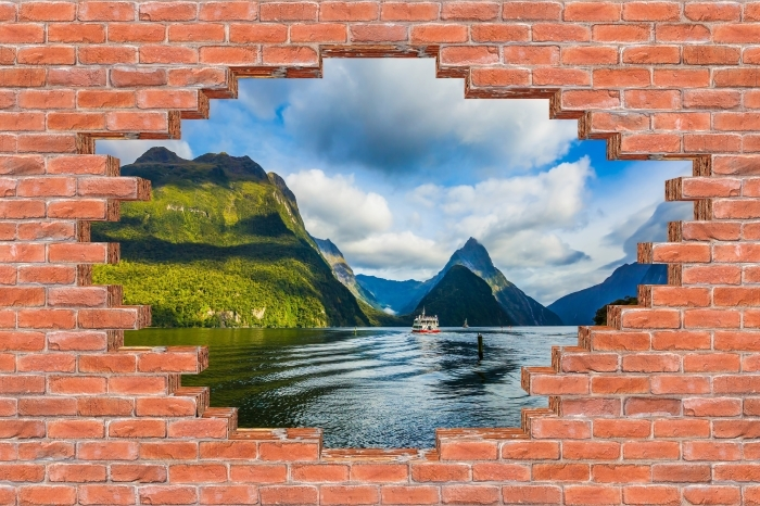 Fototapeta winylowa Dziura w murze - Wybrzeże i góry - Dziury w ścianie