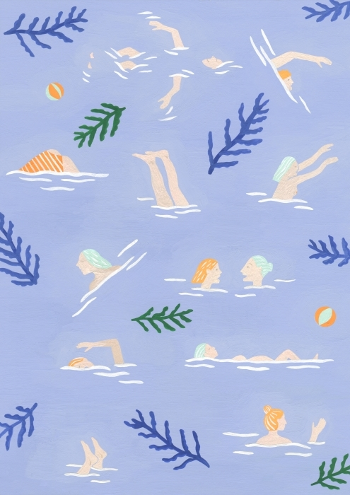 Swimming Girls - Mathilde Rives Pixerstick Sticker - Contemporary artists