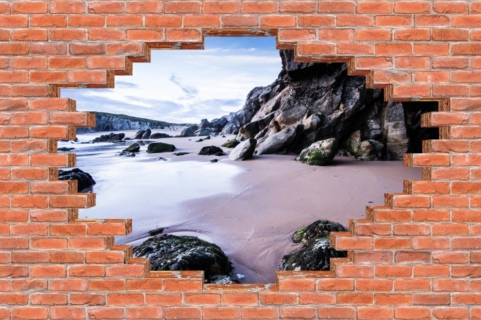 Hole in the wall - Coast in France. Vinyl Wall Mural - Holes in the wall