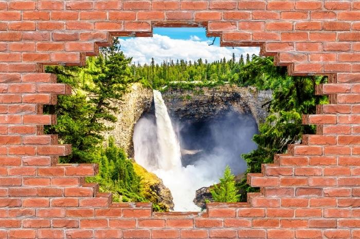 Fototapeta winylowa Dziura w murze - Góry. Kanada. - Dziury w ścianie