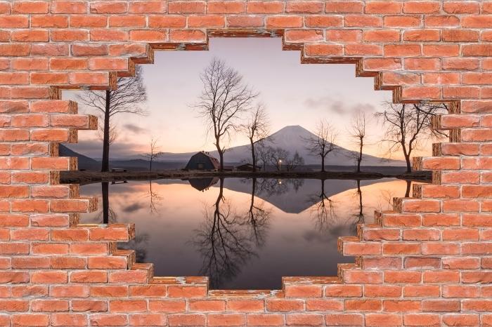 Fototapeta winylowa Dziura w murze - Góra Fuji - Dziury w ścianie