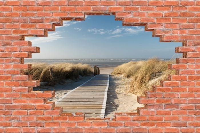 Fototapeta winylowa Dziura w murze - Nordsee Strand auf Langeoog - Dziury w ścianie