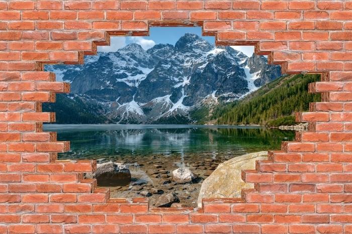 Vinyl-Fototapete Loch in der Wand - Sea Eye. Tatra. Polen. - Durchbruch in der Wand