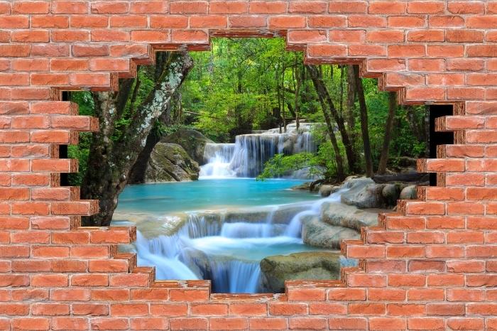 Vinyl-Fototapete Loch in der Wand - Erawan Wasserfall. Thailand - Durchbruch in der Wand