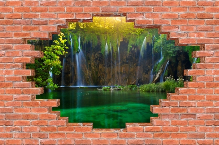 Fototapeta winylowa Dziura w murze - Jeziora Plitwickie. Chorwacja. - Dziury w ścianie