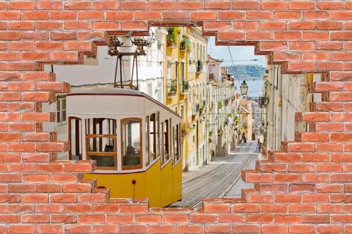 Vinyl-Fototapete Loch in der Wand - Lissabon. - Durchbruch in der Wand
