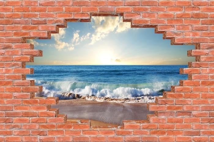 Vinyl-Fototapete Loch in der Wand - Meer. Sonnenuntergang. - Durchbruch in der Wand