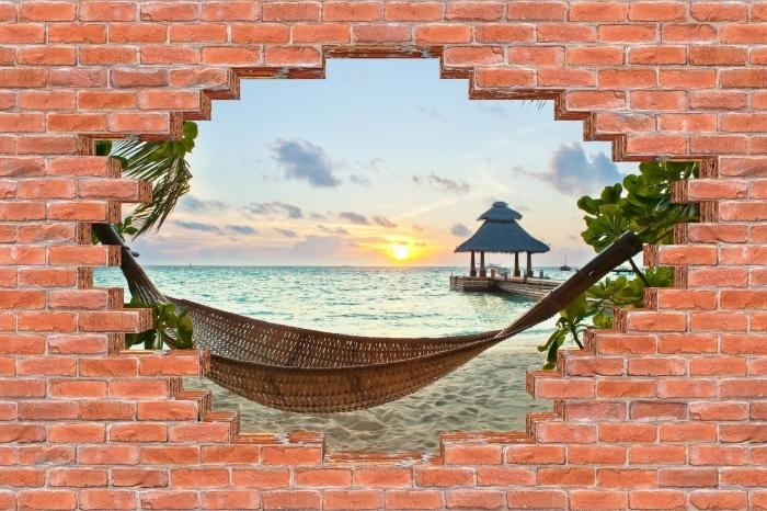 Fototapeta winylowa Dziura w murze - Hamak i słońce - Dziury w ścianie