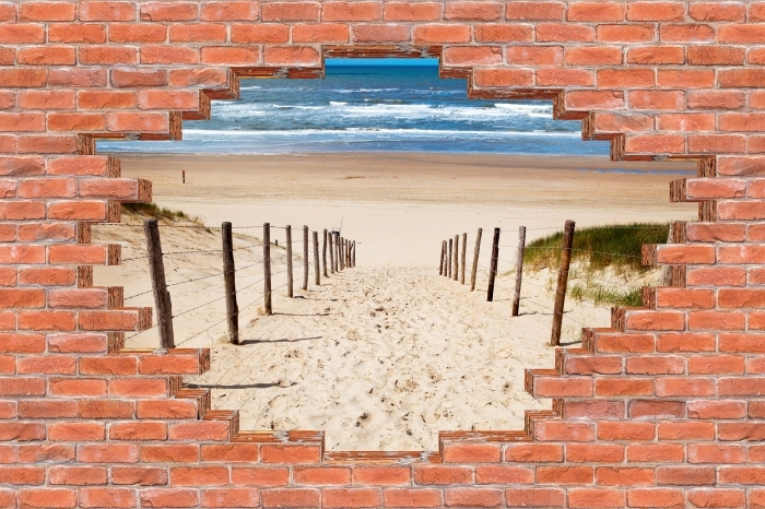 Vinyl-Fototapete Loch in der Wand - Der Weg zum Strand - Durchbruch in der Wand