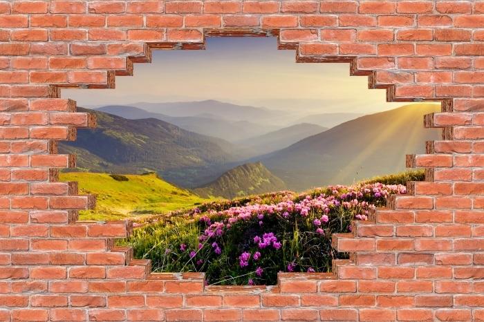 Fototapeta winylowa Dziura w murze - Górski krajobraz - Dziury w ścianie